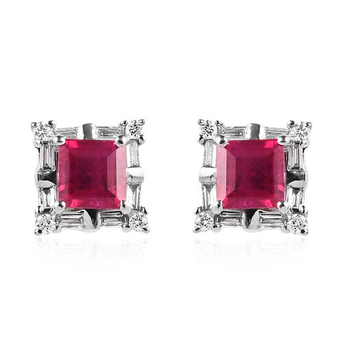 RHAPSODY 950 Platinum AAAA Burmese Ruby (Sqr), Diamond (VS/E-F) Stud Earrings (with Screw Back) 1.15