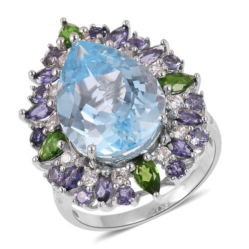 Sky Blue Topaz (Pear 13.75 Ct), Russian Diopside, Iolite and Natural White Cambodian Zircon Floral Ring in Rhodium Overlay Sterling Silver 16.615 Ct. Silver wt 6.14 Gms.
