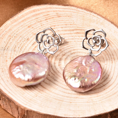 Baroque Pearl Floral Drop Earrings in Rhodium Overlay Sterling Silver