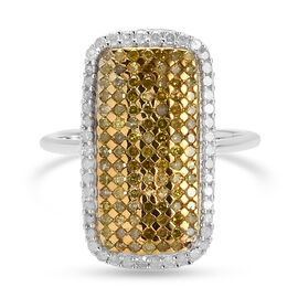 White Diamond & Yellow Diamond Cluster Ring in Platinum Overlay Sterling Silver 1.00 Ct.