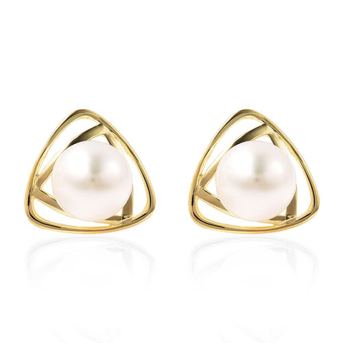 Edison Pearl Std Earrings (with Push Back) in Yellow Gold Overlay Sterling Silver