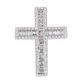 Collectors Edition - lLIANA 18K White Gold Diamond IGI Certified(SI/G-H) (Bgt and Rnd) Cross Pendant 1.010  Ct