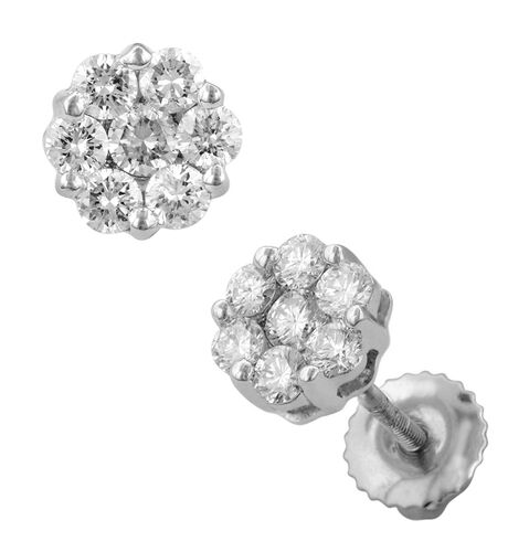 RHAPSODY 950 Platinum IGI Certified Diamond (Rnd) (VS/E-F) Pressure Set Earrings (with Screw Back) 1.000 Ct.