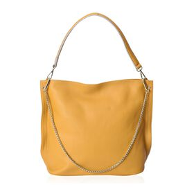 100% Genuine Leather Mustard Colour Shoulder Bag (Size 31x11.5x29.5 Cm) with Detachable Shoulder Str