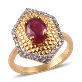 African Ruby (FF) and Natural Cambodian Zircon Ring in 14K Gold Overlay Sterling Silver 2.00 Ct.