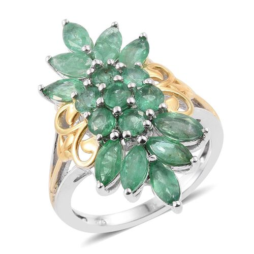 Kagem Zambian Emerald (Rnd) Ring in Platinum and Yellow Gold Overlay Sterling Silver 3.000 Ct.