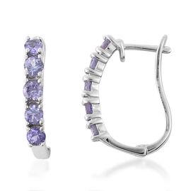 1.05 Ct Tanzanite Hoop Earrings in Rhodium Plated Sterling Silver