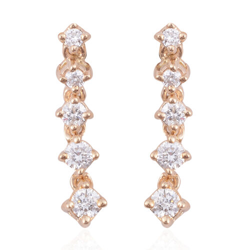 14K Yellow Gold (I1/G-H) Diamond (Rnd) Earrings (with Push Back) 0.500 Ct.