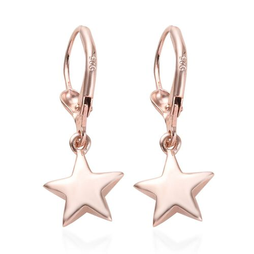 Rose Gold Overlay Sterling Silver Star Lever Back Earrings, Silver wt 2.68 Gms
