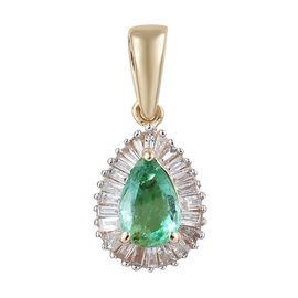14K Yellow Gold AAA Boyaca Colombian Emerald (Pear), Diamond Pendant 0.500 Ct.