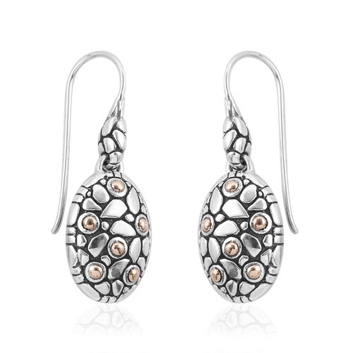 Bali Legacy Collection 18K Yellow Gold and Sterling Silver Pebble Hook Earrings, Metal wt 8.71 Gms.