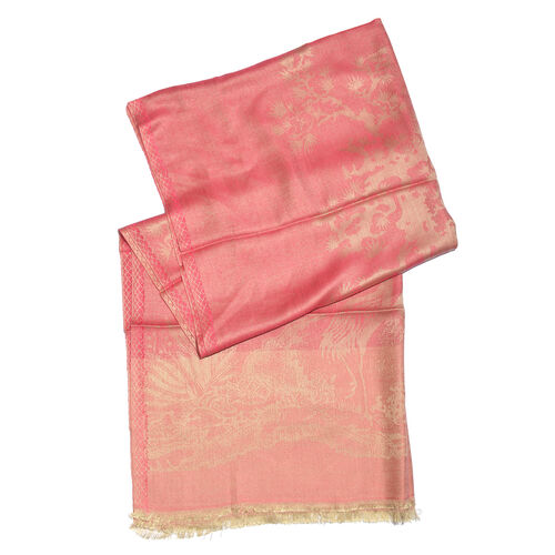 Autumn Winter Special Supersoft Modal Peach and Golden Colour Heron Bird and Tree Pattern Reversible Jacquard Scarf with Fringes (Size 190X70 Cm)