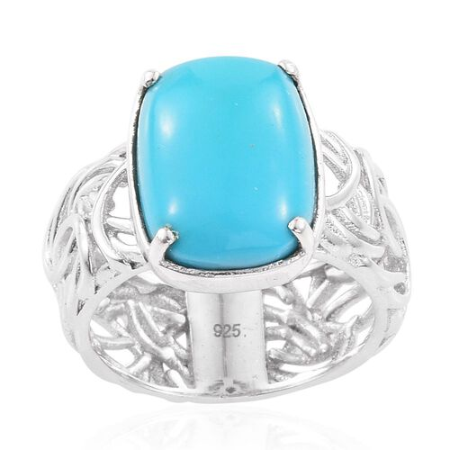 Arizona Sleeping Beauty Turquoise (Cush) Solitaire Ring in Platinum Overlay Sterling Silver 5.500 Ct.