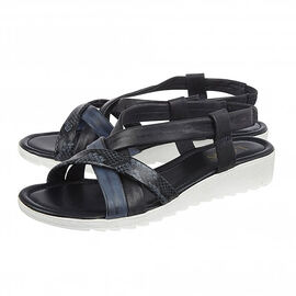 Lotus Navy Leather Rosanne Open-Toe Sandals
