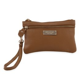 100% Genuine Leather Tan Colour Wristlet Pouch (Size 18.5x12 Cm)