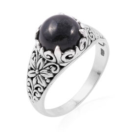 Royal Bali Collection - Black Jade (Rnd) Filigree Ring in Sterling Silver 4.910 Ct