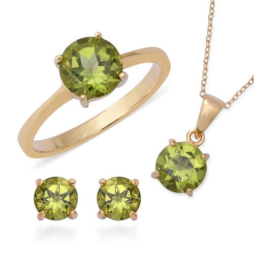 3 Piece Set - Hebei Peridot (Rnd) Solitaire Ring, Earrings and Pendant with Chain in Yellow Gold Ove