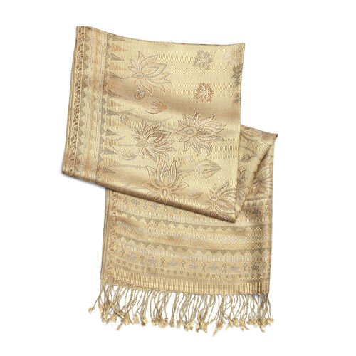 100% Silk Beige, Brown, Pink, and Multi Colour Flower Pattern Scarf (Size 180x70 Cm)