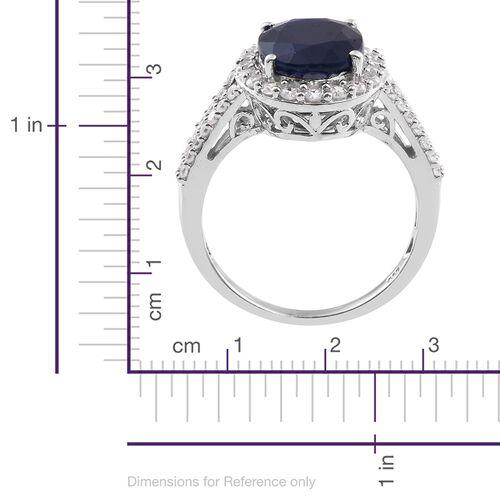 Kanchanaburi Blue Sapphire (Ovl 7.50 Ct), Natural Cambodian Zircon Ring in Platinum Overlay Sterling Silver 8.750 Ct.