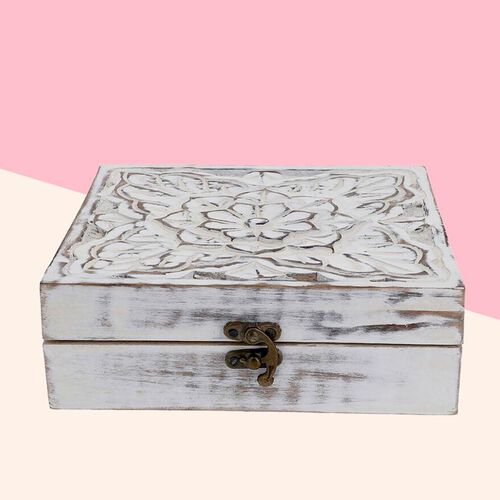Mango Wood Antique Carving Work Jewellery Box (Size 15x14x14cm)