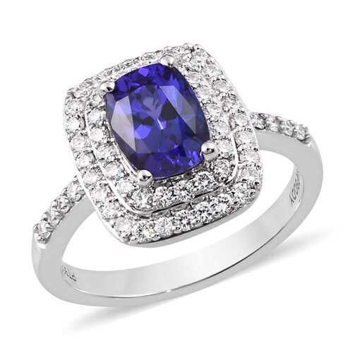 RHAPSODY 950 Platinum AAAA Tanzanite and Diamond (VS/E-F) Ring 2.00 Ct, Platinum wt 7.10 Gms