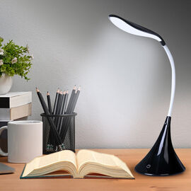 Portable 14 LED Swan Desk Lamp with Touch Switch and USB Power 3 AA Battery(not included) - Black
