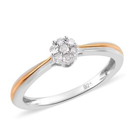 Diamond Floral Ring in Silver 0.11 Ct