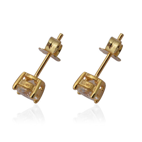 ELANZA Swiss Star Simulated Canary Diamond Stud Earrings (with Push Back) in Yellow Gold Overlay Sterling Silver