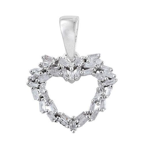 Diamond (Bgt) Heart Pendant in Platinum Overlay Sterling Silver 0.250 Ct.