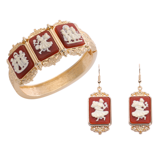 2 Piece Set -  Cameo Bangle and Hook Earrings in Gold Tone