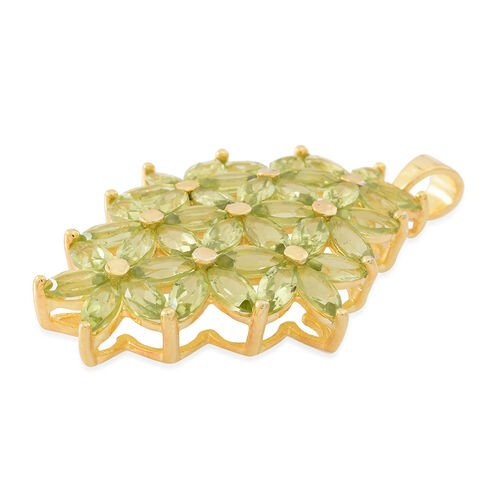 Hebei Peridot (Mrq) Floral Pendant in 14K Gold Overlay Sterling Silver 9.750 Ct.