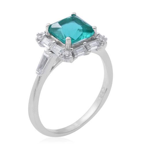 Designer Inspired- ELANZA Simulated Paraiba Tourmaline ( Princess Cut 8mm), Simulated White Diamond Ring in Rhodium Plated Sterling Silver