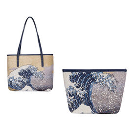 Signare Tapestry -Art Tote Bag in Great Wave of Kanagawa Design (33 x 27 x 15 cms) with Free Makeup