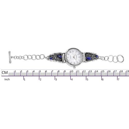 Bali Collection- Lapis and White MOP Dial Water Resistant Bracelet Watch (Size 7 with 0.5 inch Extender) Silver Plated