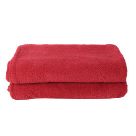 Supersoft Sherpa Blanket, Double/King (Size 200x230 Cm) -  Red