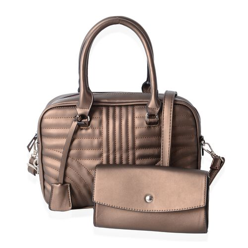 Set of 2 Bronze Colour Handbag with Handle Drop Shoulder Strap (Size 28.5x7x20.5)