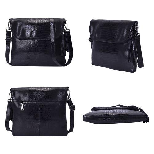 100% Genuine Leather Lizard Skin Pattern Crossbody Bag with Adjustable Strap (Size 24x3x24 Cm) - Black
