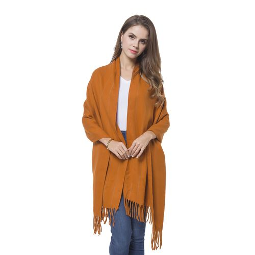 Italian Designer Inspired-Orange and Grey Colour Stripes Pattern Scarf with Tassels (Size 190X65 Cm)