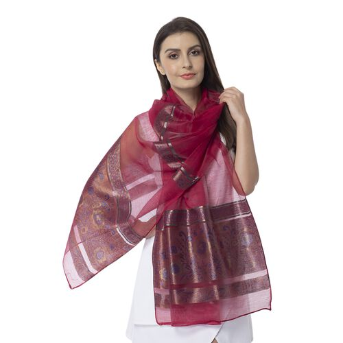 Wine Red Colour Shiny Plum Blossom Pattern with Golden Colour Strip Scarf (Size 190x75 Cm)