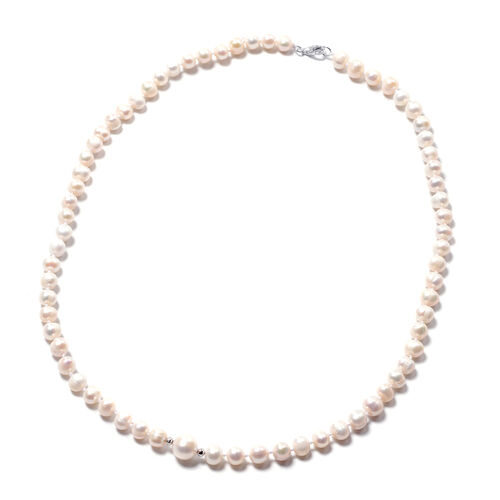 White Freshwater Pearl Beads Necklace (Size 20) in Rhodium Overlay Sterling Silver