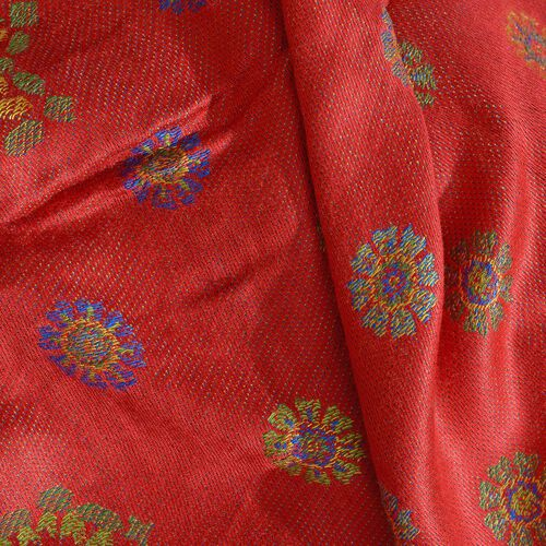 Autumn Winter Special Supersoft Modal Red, Purple and Multi Colour Floral Pattern Reversible Jacquard Scarf with Tassels (Size 190X70 Cm)
