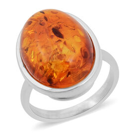 7.10 Carat Baltic Amber Solitaire Ring in Silver 5.55 Grams