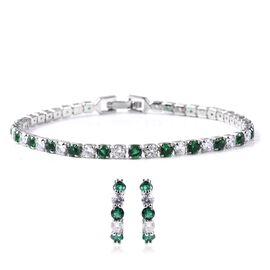 Set of 2 - Simulated Emerald (Rnd), Simulated Diamond Earrings (with Clasp) and Bracelet (Size 7) in