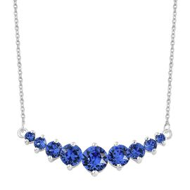 J Francis Crystal from Swarovski - Sapphire Colour Crystal (Rnd) Necklace (Size 18) in Sterling Silver