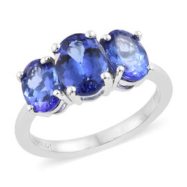 RHAPSODY 950 Platinum AAAA Tanzanite (Ovl 1.45 Ct) Trilogy Ring 3.250 Ct.., Platinum Wt 4.43 Gms.