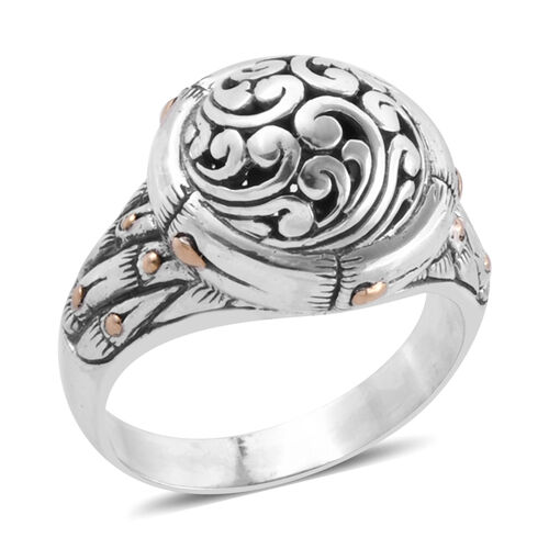 Bali Legacy Collection 18K Yellow Gold and Sterling Silver Filigree Ring, Metal wt 7.73 Gms.