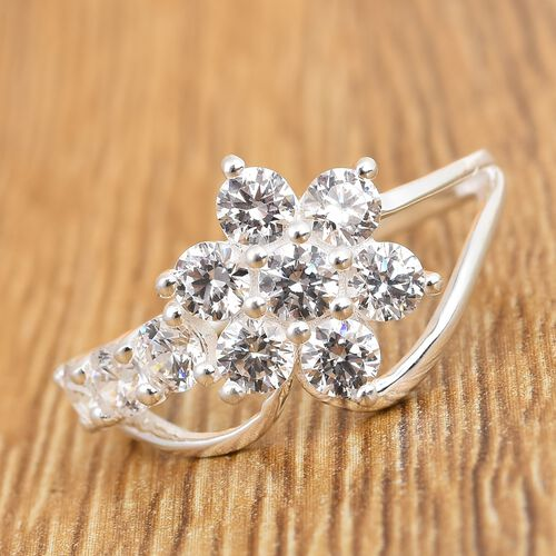 J Francis - Sterling Silver Floral Ring Made with SWAROVSKI ZIRCONIA 2.61 Ct.