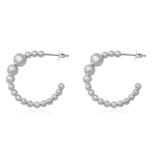 Sterling Silver Bead Hoop Earrings (with Push Back), Silver wt 4.30 Gms