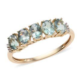 1.25 Ct AA Narsipatnam Alexandrite and Natural Diamond 5 Stone Ring in 9K Yellow Gold