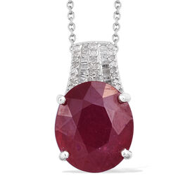 11 Carat African Ruby and Diamond Drop Pendant with Chain in Sterling Silver